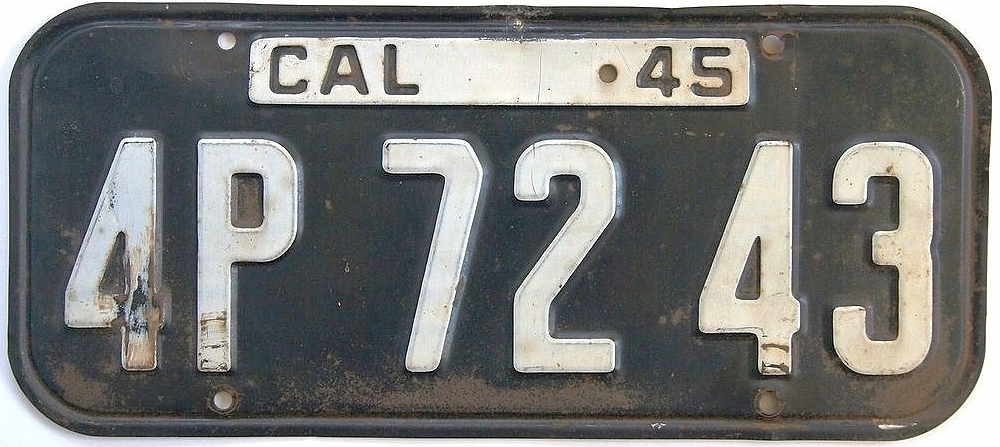 Old California License Plate 1945