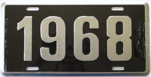 1968 model year novelty license plate black