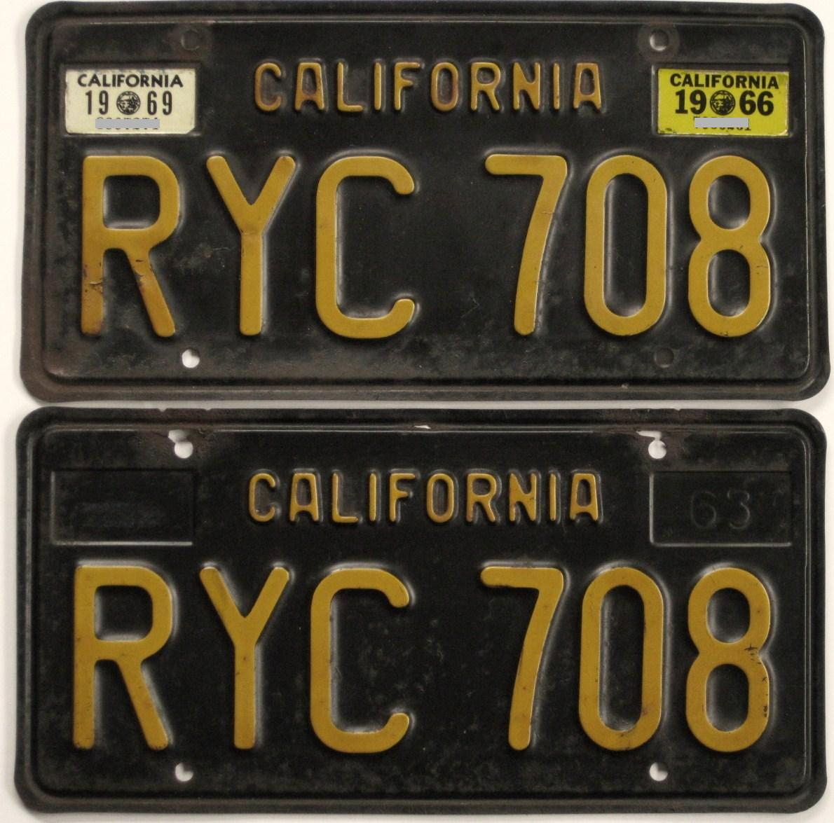 What side would a 1969 year sticker go on for a \'63 California black ...