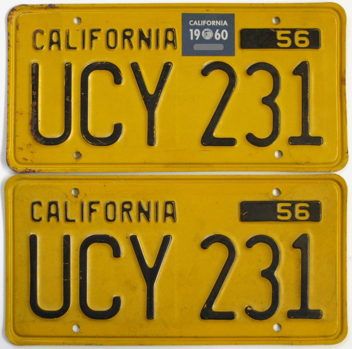 Vintage Yellow California Auto License Plates