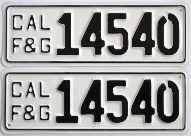 Old california fish and game license plates for Fishing license ca price