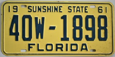 Old Florida License Plate 1961 $10.00. Vintage 1961 Florida tag that may be eligible for vehicle registration for autos manufactured in 1961 ...  sc 1 st  Vintage California License Plates \u0026 Old California Stickers for Sale & Old Florida License Plates For Sale - ClassicLicensePlates.biz ...