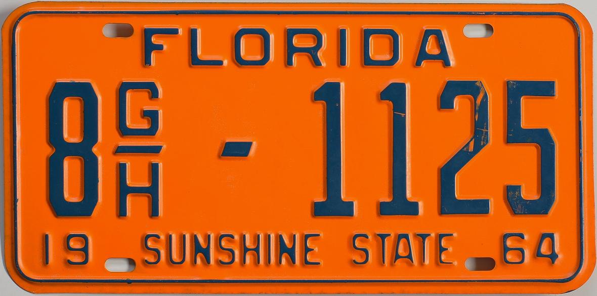 Old Florida license plate 1964