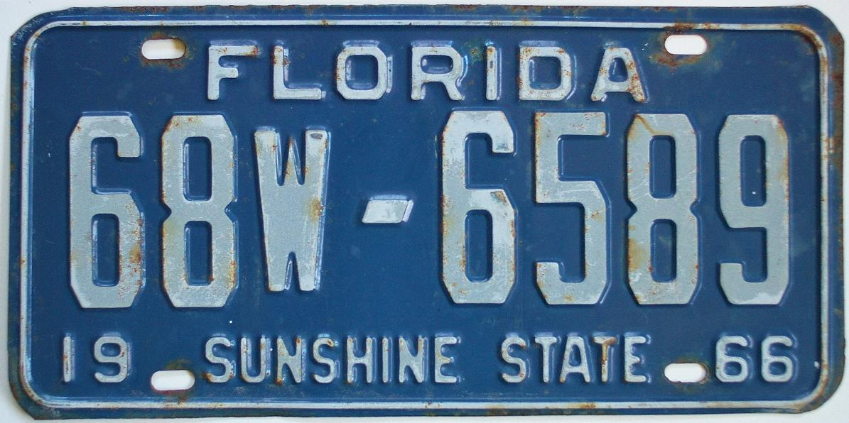 1966-fl-tag-68w6589.JPG  sc 1 st  Vintage California License Plates u0026 Old California Stickers for Sale & Vintage Florida tag 1966