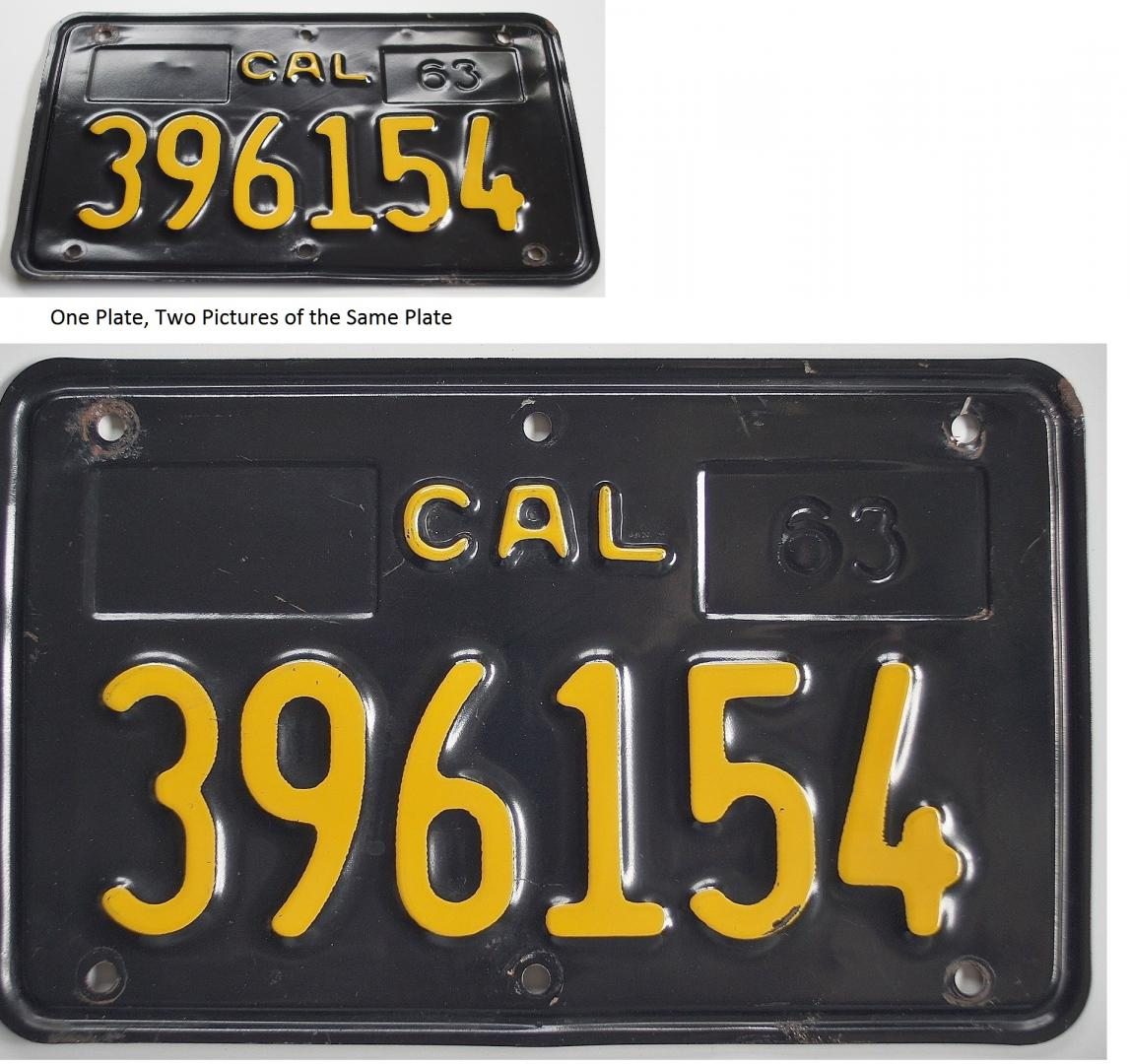 Black 1963 California motorcycle license plate