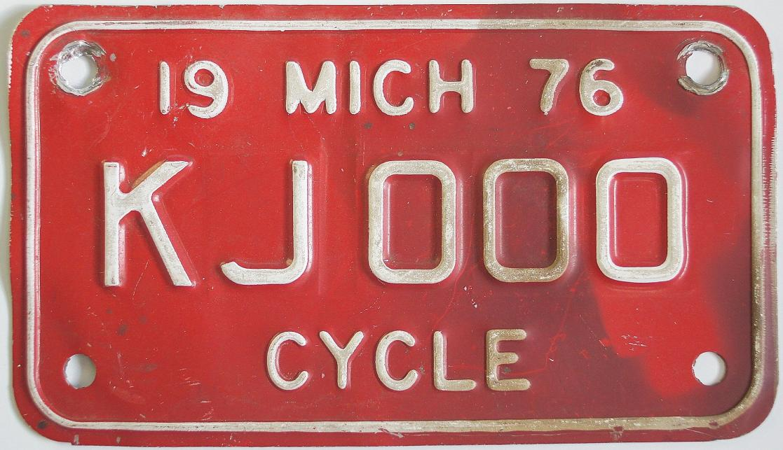Old Michigan motorcycle license plate
