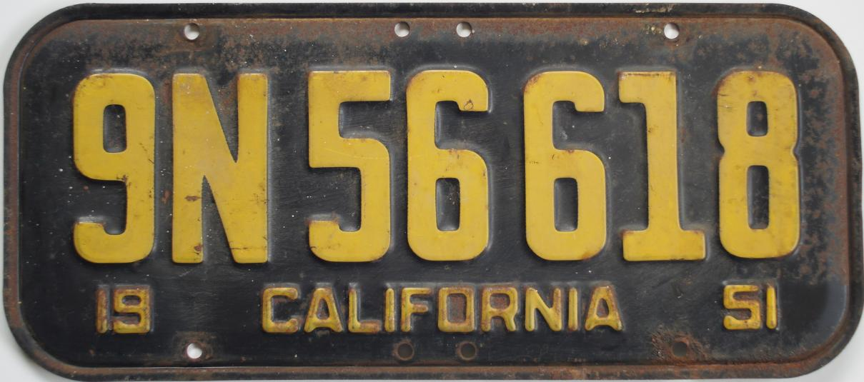 old california trailer license plate 1951