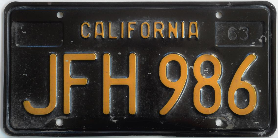 Old Black California License Plate