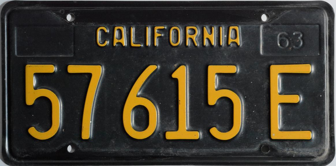Customized License Plates >> 1963 black california commercial plate
