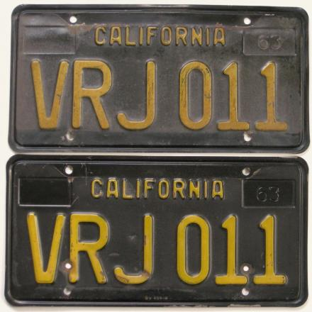 Vintage California black license plates