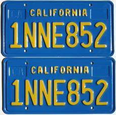 Old blue California license plates