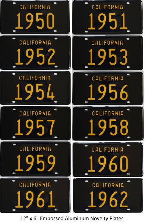 California-Style and Model Year Novelty License Plates for Sale