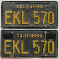 Vintage California license plates black
