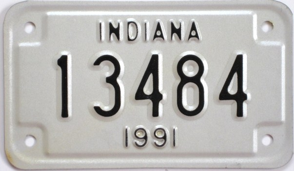 Old Indiana Motorcycle License Plate, 1991, New Old Stock, 13484